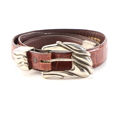 Vicenza Sport Sterling Silver Buckle Set on Embossed Brown Leather Belt