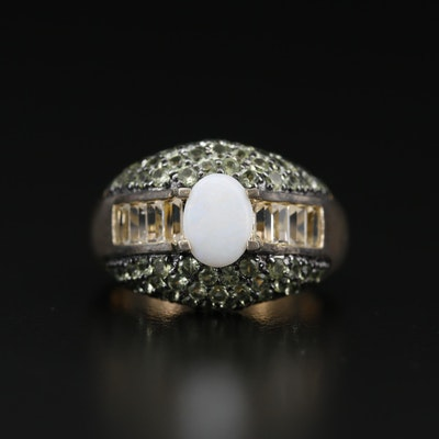 Sterling Silver Opal, Prasiolite and Citrine Ring