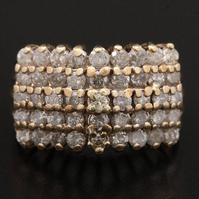10K Gold 2.75 CTW Diamond Multi-Row Ring