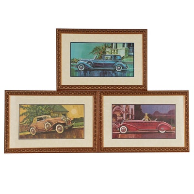 Offset Lithographs of Vintage Lincoln, Stutz and Packard Cars