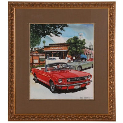 Ken Eberts Offset Lithograph of Vintage Ford Mustang Convertible