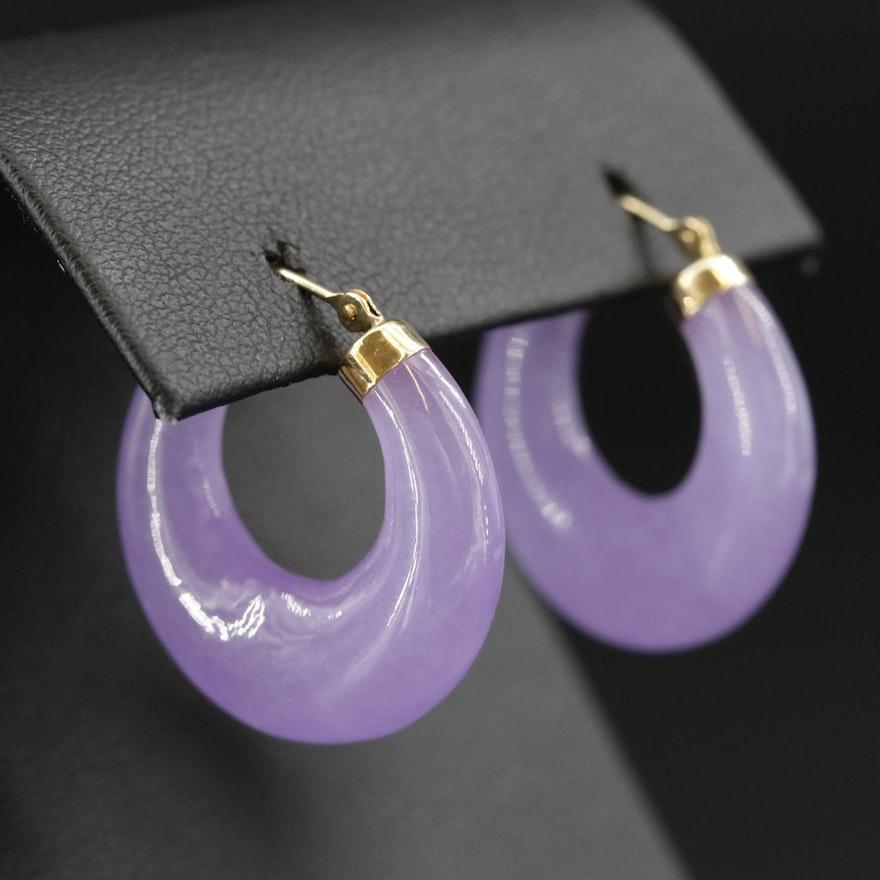14K Gold Jadeite Hoop Earrings