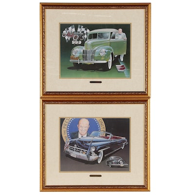 Offset Lithographs of Vintage Lincoln and Ford Cars