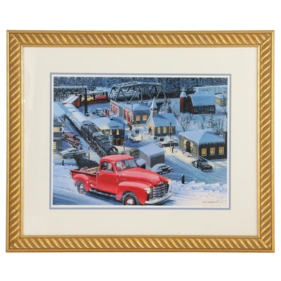 "Ken Eberts Offset Lithograph of Santa in Vintage Truck ""A Christmas Dream"""
