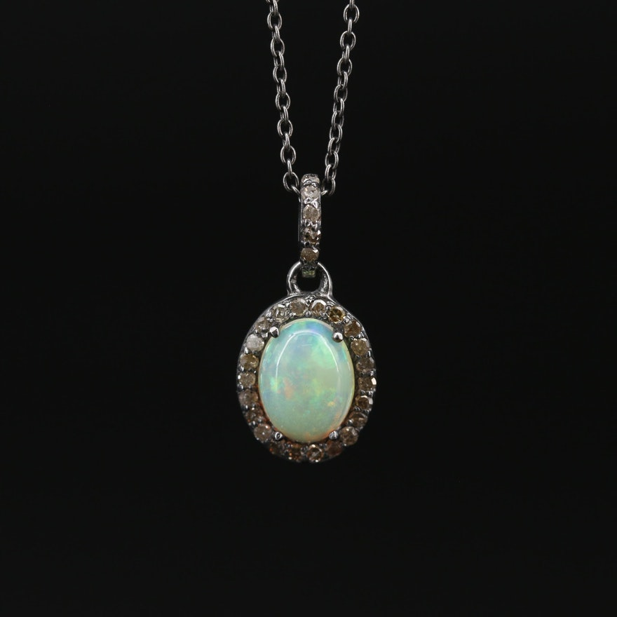 900 Silver Opal and Diamond Pendant on Sterling Cable Chain Necklace