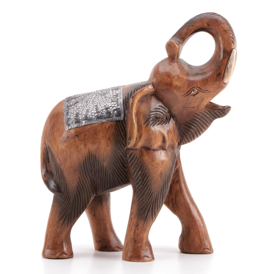 Thai Style Carved Wood and Metal Elephant Sculpture