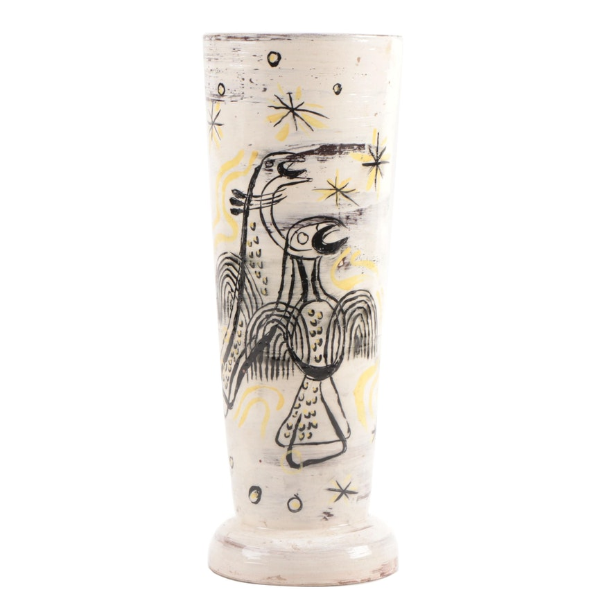 Mid Century Modern Art Pottery Vase with Decoration after Krystyna Sadowska