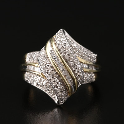 Sterling Silver Diamond Ribbon Ring