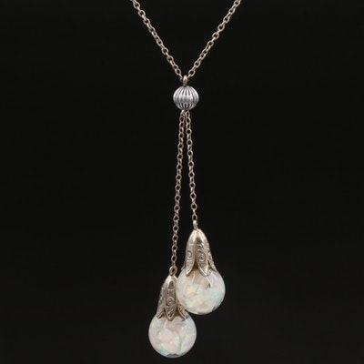 14K Gold Opal and Glass Snow Globe Negligee Necklace