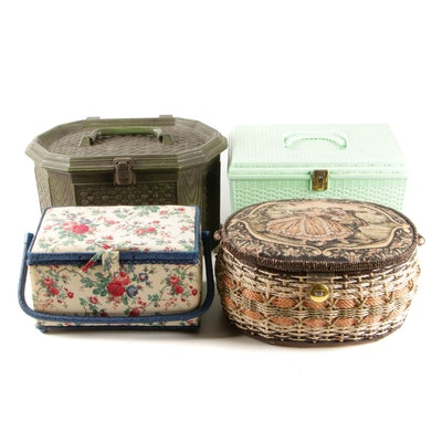 Woven Plastic and Fabric Sewing Boxes with Buttons, Mid to Late 20th Century