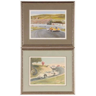 Jack Stuart Offset Lithographs of Car Races