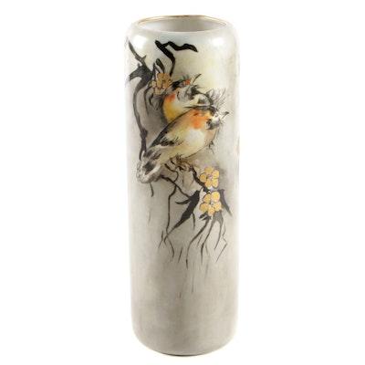 Vienna Austria Hand-Painted Porcelain Cylinder Vase