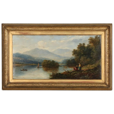 Robert Bridgehouse Bucolic Landscape Oil Painting, 1868