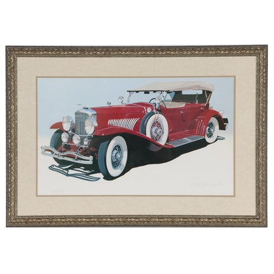 Harold James Cleworth Offset Lithograph of a Cadillac 1930 V16 Special Phaeton