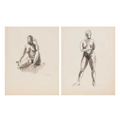 Yolanda Fusco Female Nude India Ink Drawings with Watercolor, 20th Century