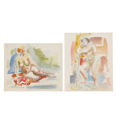 Yolanda Fusco Watercolor Paintings with Graphite, Mid 20th Century