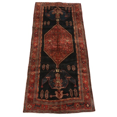 4'9 x 10'10 Hand-Knotted Persian Kurdish Kakaberu Wool Long Rug