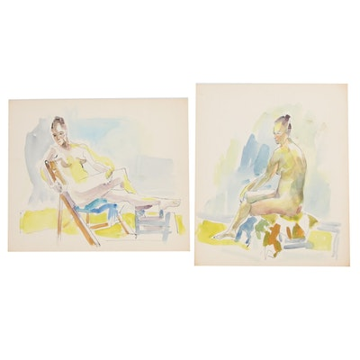 Yolanda Fusco Embellished Watercolor Paintings, Late 20th Century