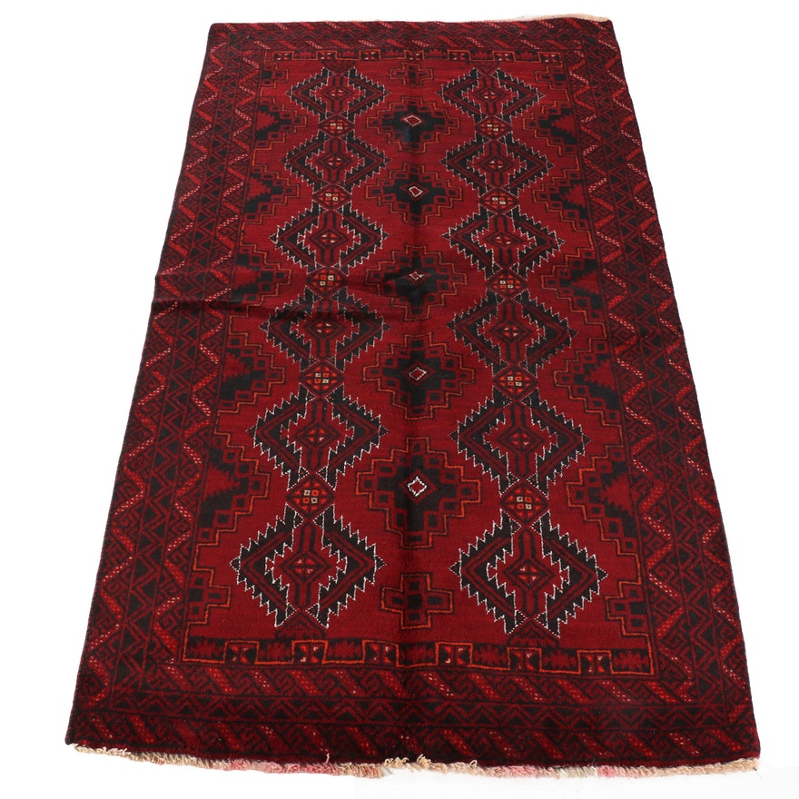 3'5 x 6'0 Hand-Knotted Afghani Baluch Wool Rug
