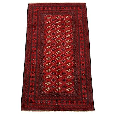 4'0 x 7'5 Hand-Knotted Afghani Bokhara Wool Rug