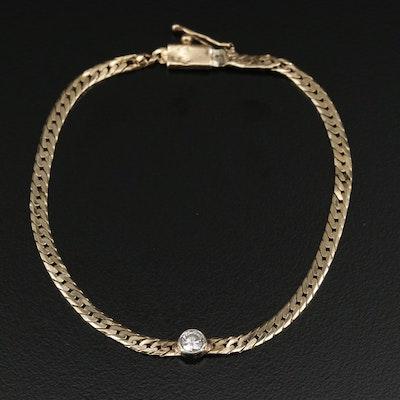 14K Gold Diamond Herringbone Chain Necklace