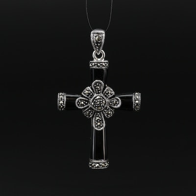 Sterling Black Onyx and Marcasite Cross Pendant