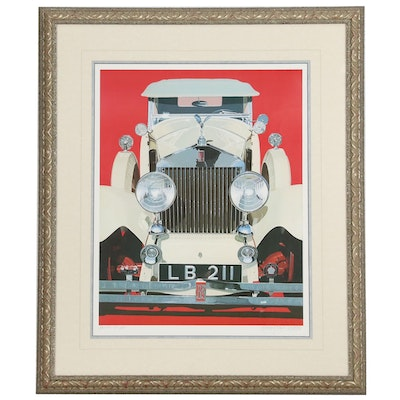 Harold James Cleworth Offset Lithograph of a 1930 Rolls Royce Phantom II