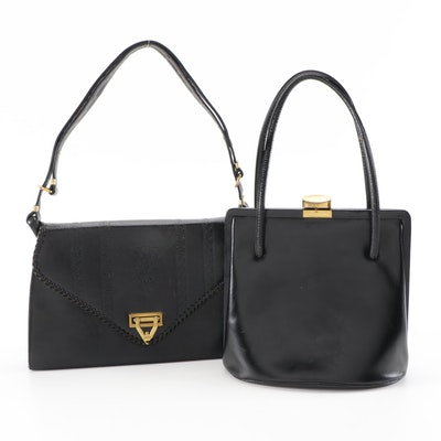 Meeker and Other Black Leather Handbags, Including Tooled Steer Hide