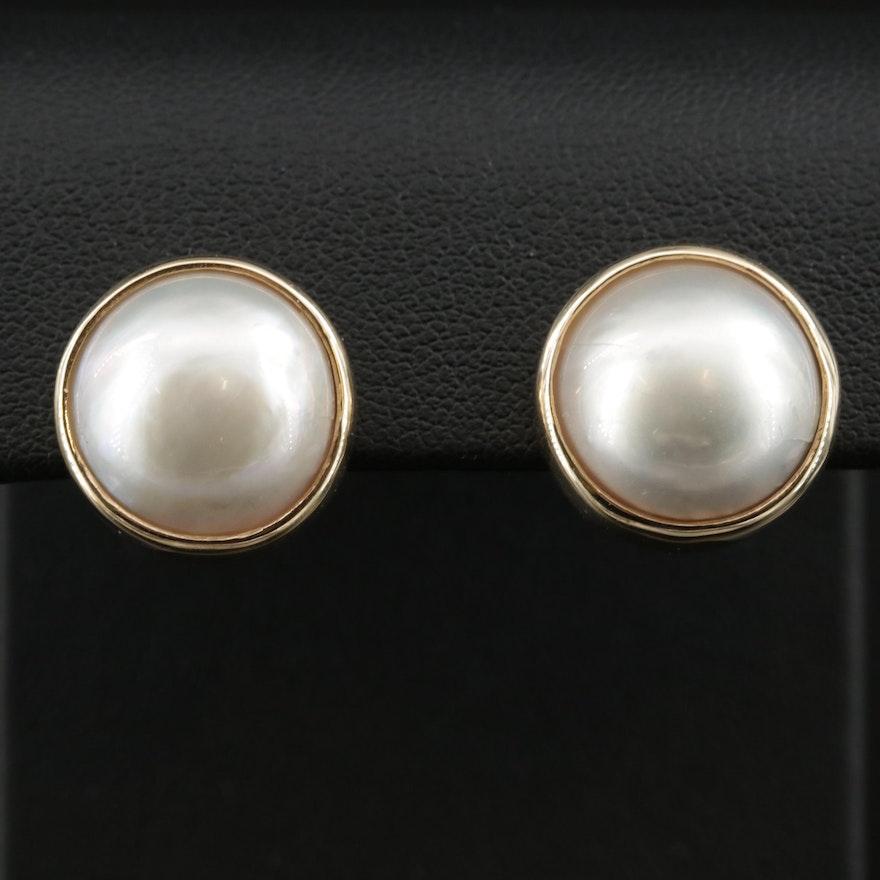 14K Gold Mabé Pearl Earrings