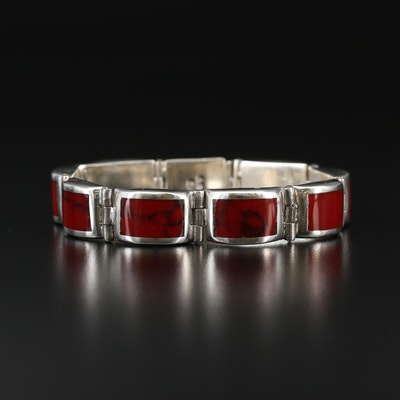 Mexican 950 Silver Faux Gemstone Bracelet