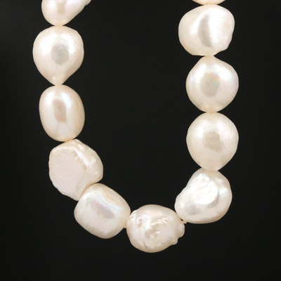 Pearl Single Knotted Necklace with 14K Clasp