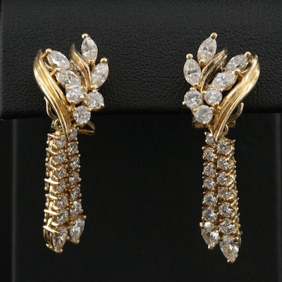 18K Gold 3.19 CTW Diamond Dangle Clip-On Earrings