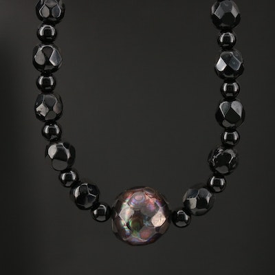 Black Onyx and Pearl Beaded Necklace with 14K Spring Ring Clasp