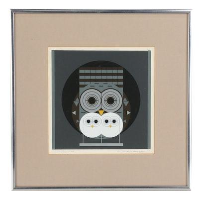 "Charley Harper Serigraph ""Family Owlbum"", 1972"