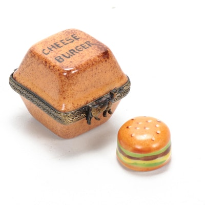 Hand-Painted Porcelain Cheeseburger Limoges Box