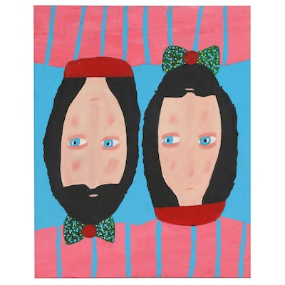 Robert Sellers Abstract Acrylic Double Portrait Painting, 2010