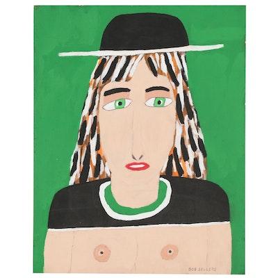 Bob Sellers Outsider Art Acrylic Portrait Painting