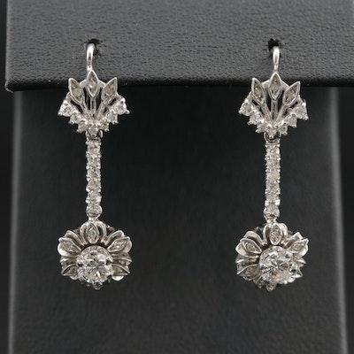 18K Gold 1.07 CTW Diamond Dangle Earrings with Foliate Motif