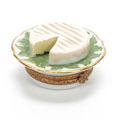 Parry Vieille Hand-Painted Porcelain Brie Wheel Limoges Box