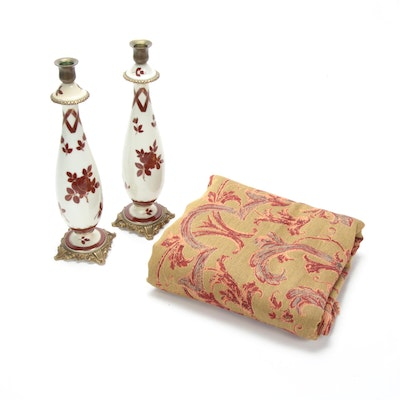 Casabella by Emdee Italian Throw Blanket with French Hand-Painted Candlesticks