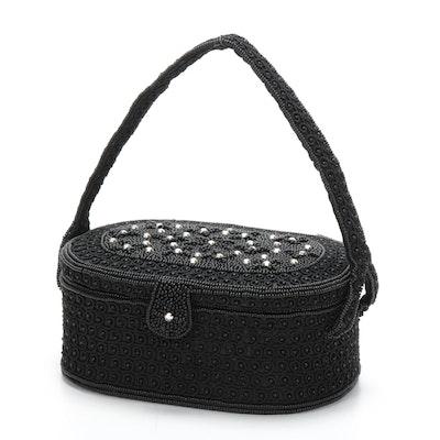 Black Soutache and Glass Bead Embellished Vanity Box Handbag with Change Purse