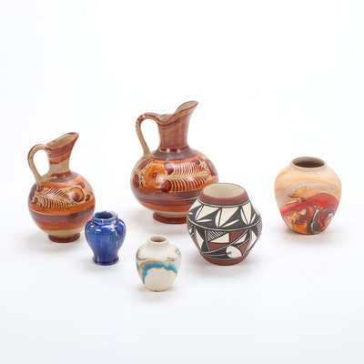 Nemadji Indian Pottery with Mexican Pottery, Mid to Late 20th Century
