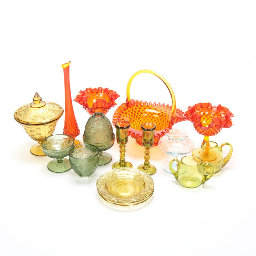 Fenton and Other Colored Glass Table Accessories, Early to Mid 20th Century