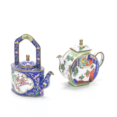 "Kelvin Chen Miniature Enameled Teapots Featuring Matisse's ""Basket with Oranges"""