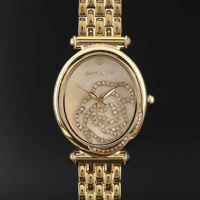 Affinity Diamond Encrusted Rose Quartz Wristwatch