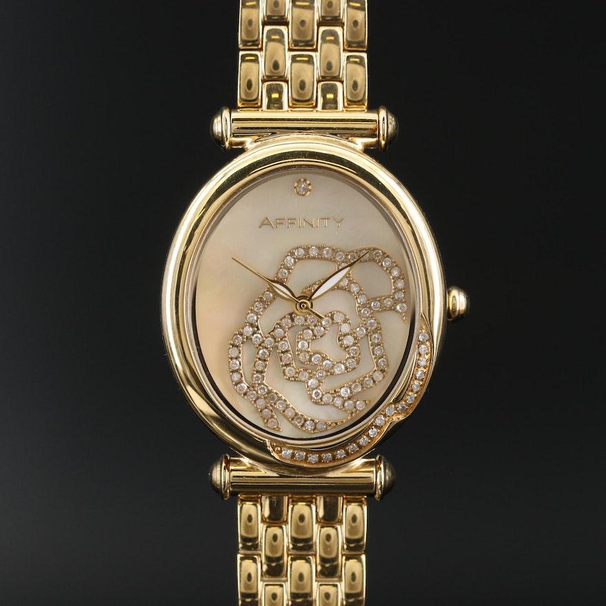 Affinity Diamond Encrusted Rose Quartz Wristwatch