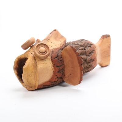 Folk Art Fish Form Carved Log Sculpture