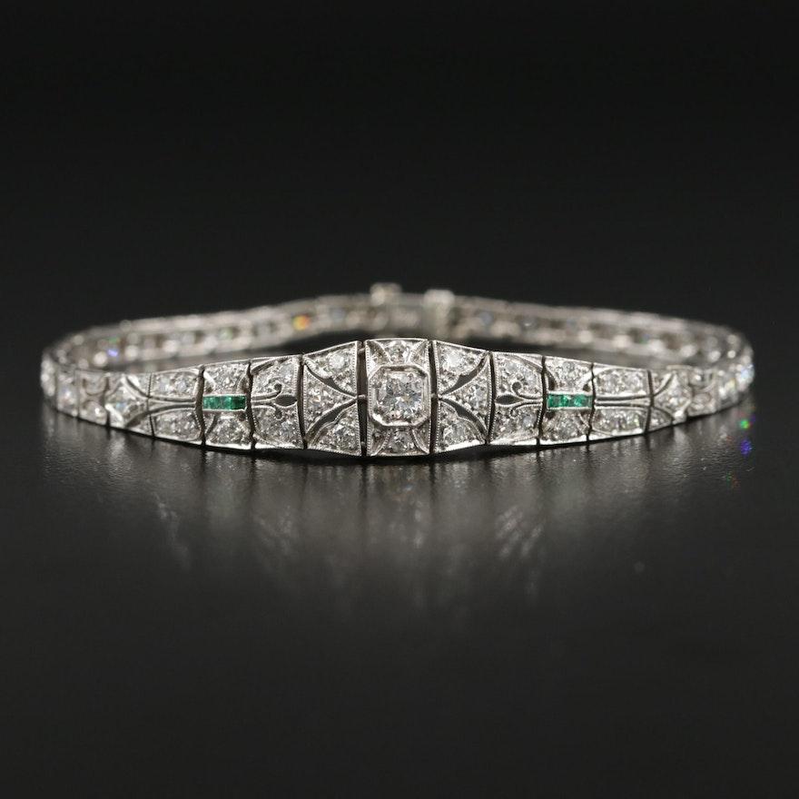 Edwardian Platinum 2.34 CTW Diamond and Emerald Bracelet