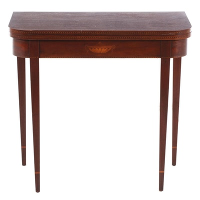 Hepplewhite Style Inlaid Mahogany Swivel Top Games Table