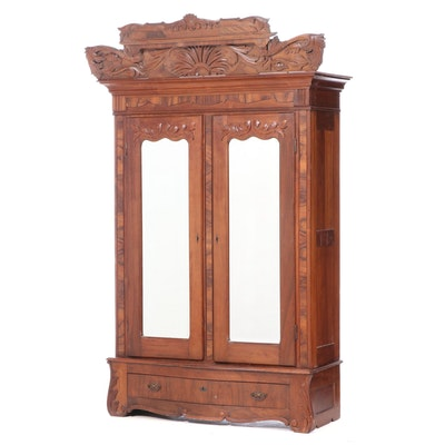 American Rococo Revival Walnut and Figured Walnut Wardrobe